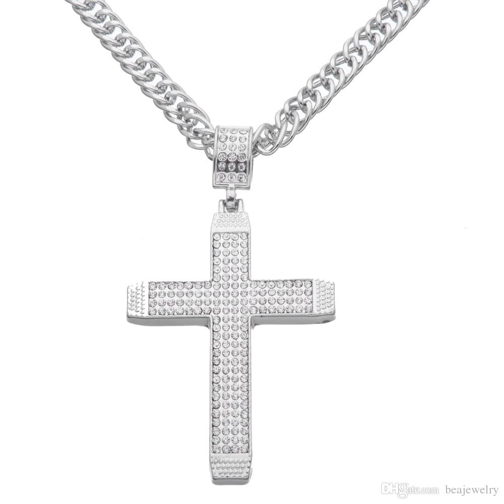 Wholesale large crystal cross pendant necklace hip hop rap punk rock wholesale large crystal cross pendant necklace hip hop rap punk rock 36inch long chain jewelry pendants and necklaces gold chains for men from beajewelry aloadofball Gallery