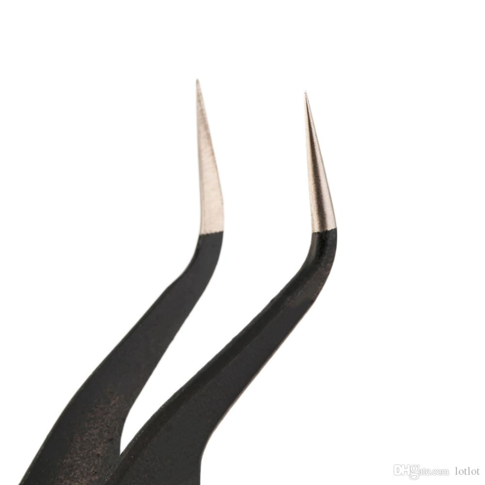 Professional Black Non Magnetic Anti Static Fine Tip Straight Tweezer Tool Stainless Steel Useful Repair Tool