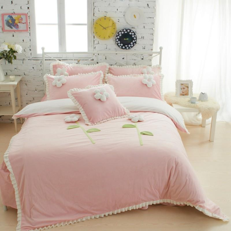 Wholesale Thick Fleece Girls Bedding Sets King Queen Twin