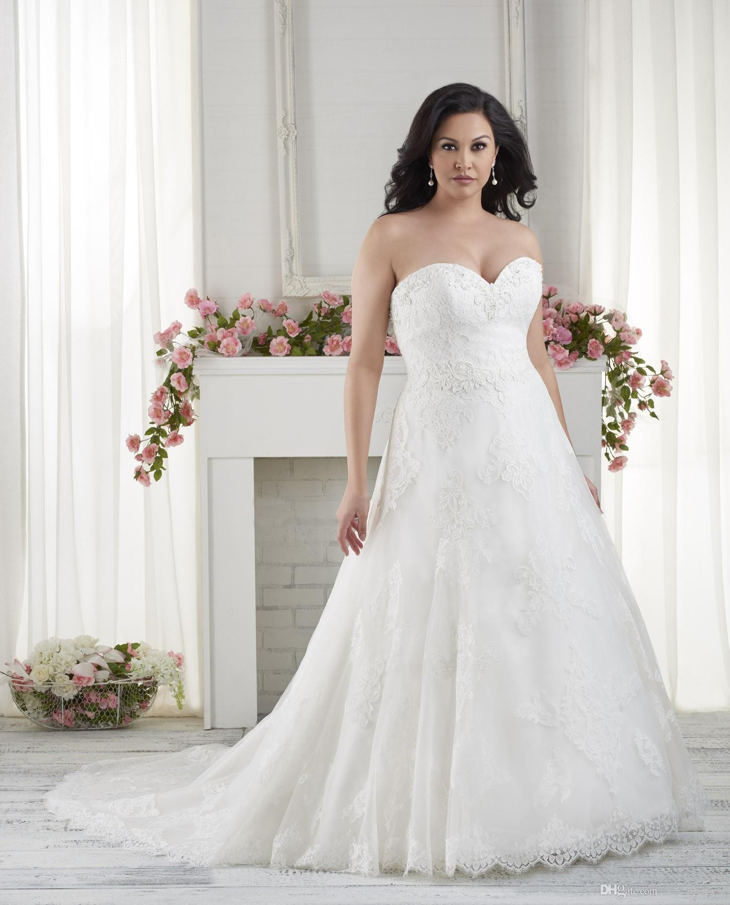 Plus Size Dress For Wedding Cheap Bridal Dresses Elegant Applique Fit Custom Made Formal Beading Lace Up Back High Quality