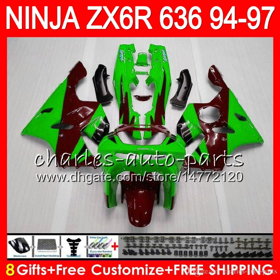 8Gifts For KAWASAKI NINJA ZX6R 94 95 96 97 600CC ZX-6R 33NO63 ZX636 ZX green red 636 ZX 6R ZX600 1994 1995 1996 1997 Fairing kit