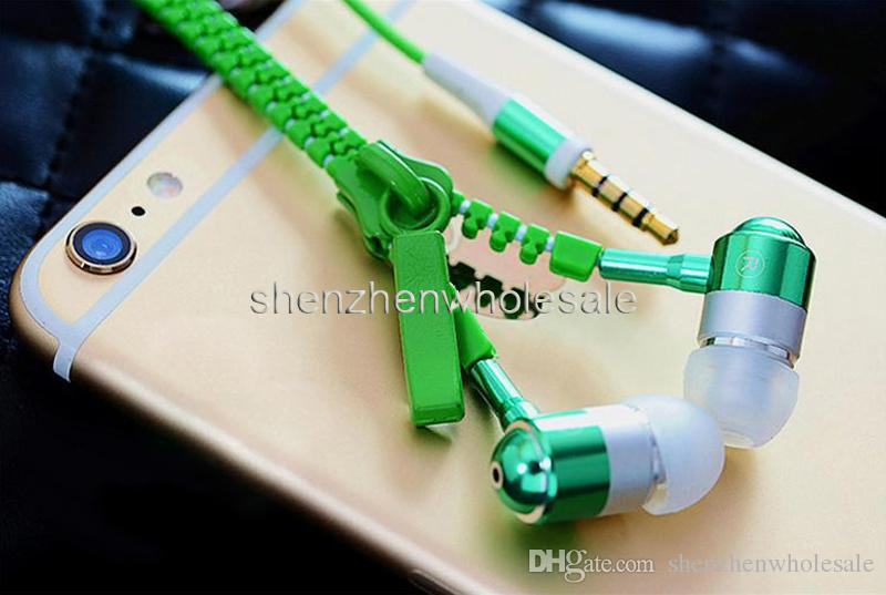 High quality 3.5mm in-ear Stereo Universal Zipper Earphones Headset headphone With Remote Mic for Smart Phone Samsung s6 HTC LG Cell Phone