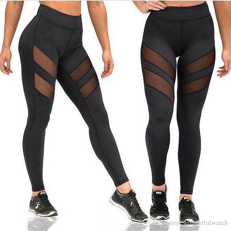 5pcs Four Seasons sport yoga pants Women Leggings openwork perspective stitching sports fitness gym running sexy pants Leggings LG001