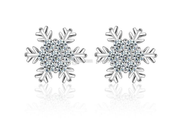Fashion Snowflake Flower White Crystal Stone Snow Stud 925 Silver Plated Earrings Ear Jewelry for women Xmas Gift ED289