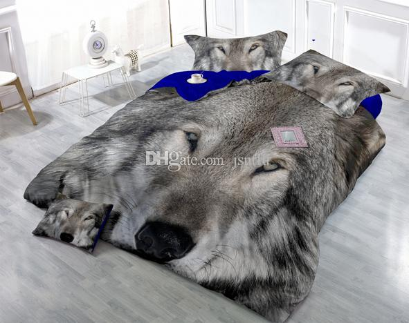 Los dibujos personalizados se pueden personalizar Vigoroso 3D Gray Wolf Impresión digital Algodón Satén 4 piezas Funda nórdica de algodón Juegos de sábanas