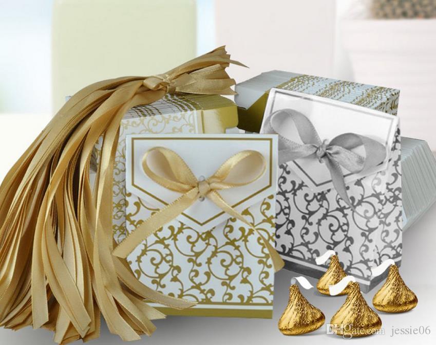 Düğün Favor Favor Çanta Tatlı Kek Hediye Şeker Wrap Kağıt Kutuları Çanta Yıldönümü Partisi Doğum Günü Bebek Duş Kutusu altın simli Sunar