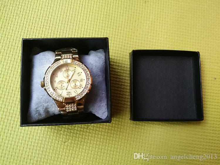 8x8x6 cm Carré Papier Dur Simple Bracelet Bracelet Bijoux Montre Boîte Cadeau Affichage Emballage Noir