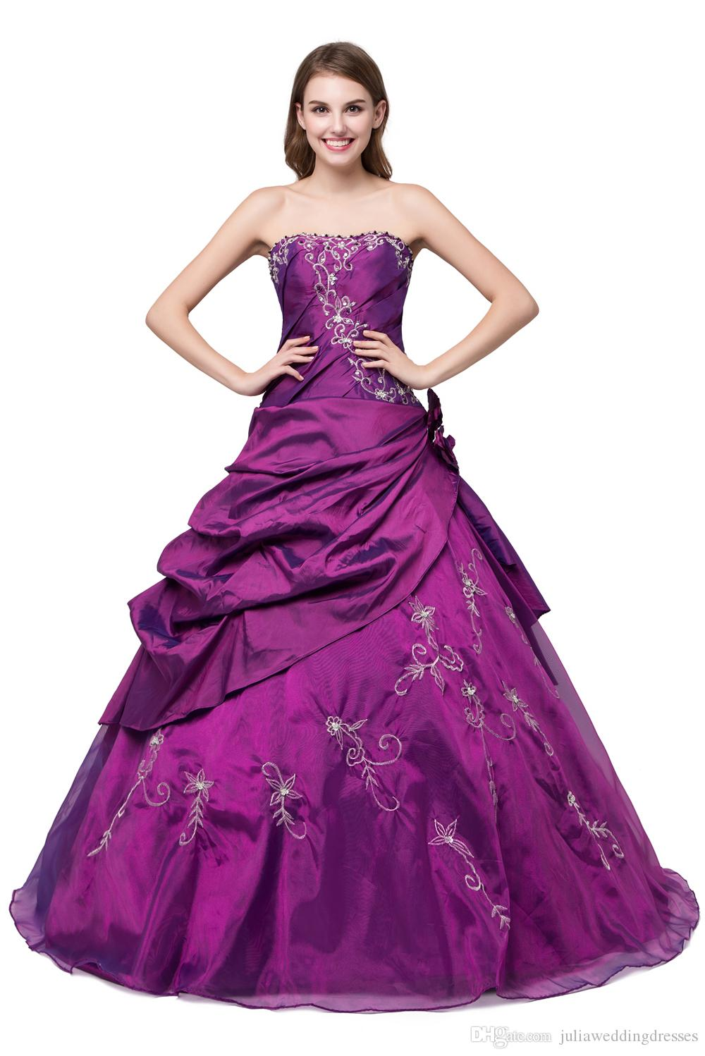 a24ca1c943c New Elegant Stock Purple   Royal Blue Ball Gown Quinceanera Dresses 2017  Beaded Crystals Sweet 16 Dresses For 15 Years Debutante Gown QC265 Dama  Quinceanera ...