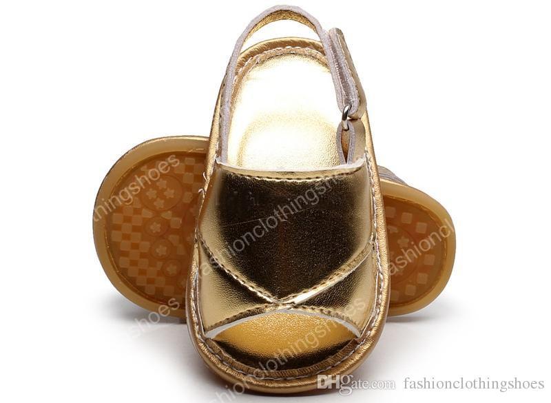 الصيف طفل الصنادل الجلدية الطفل المطاط الوحيد أحذية الرضع الفتيات الفتيان لينة وحيد بو الجلود الطفل الأولى حمالات أطفال الأحذية 9 اللون 0-2Year