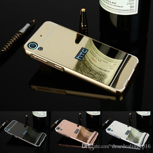 san francisco 9ad71 2aa48 New Golden Plating Aluminum Frame Mirror Acrylic Back Cover Case For HTC  Desire 530 626 628 820 816 828 Phone Protective Cases