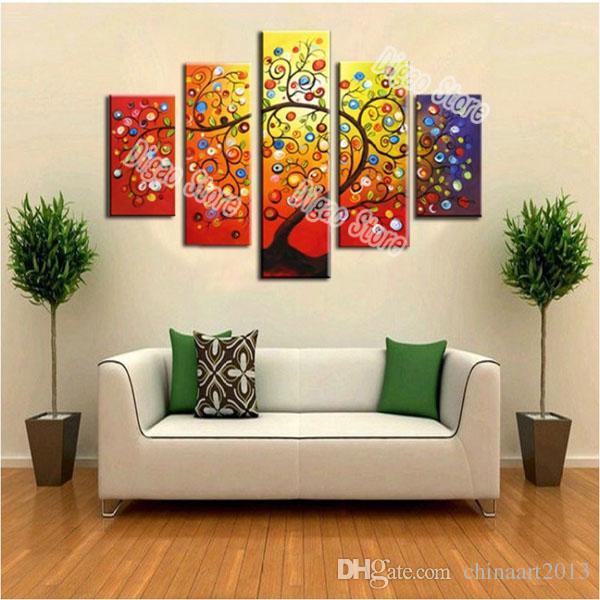 5 Stücke abstrakten bunten Baum Malerei 100% handgemalte Landschaft Ölgemälde auf Leinwand moderne Wandkunst Dekoration Haus