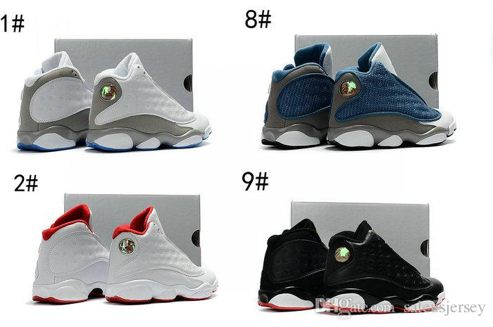 b0e84020f7c 2017 New Retro 13 Xiii White Neutral Grey University Blue Kids Basketball  Shoes 13 Xiii Retro French Blue/Flint Grey Boy And Girls Shoes Kids Court  Shoes ...