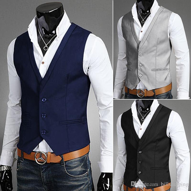 21bcd53a14 Compre Hombres Chalecos Prendas De Vestir Exteriores Para Hombre Trajes  Casuales Slim Fit Elegante Traje Corto Chaqueta Chaquetas Abrigos Chaleco  De La Boda ...