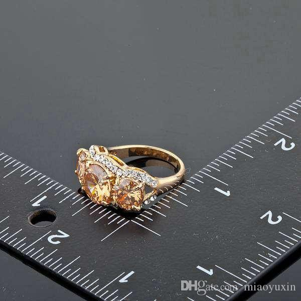 Neoglory Jewelry Swarovski Elements Sparkling Gold Color Gold Colour Stellux Austrian Crystal Ring For Women