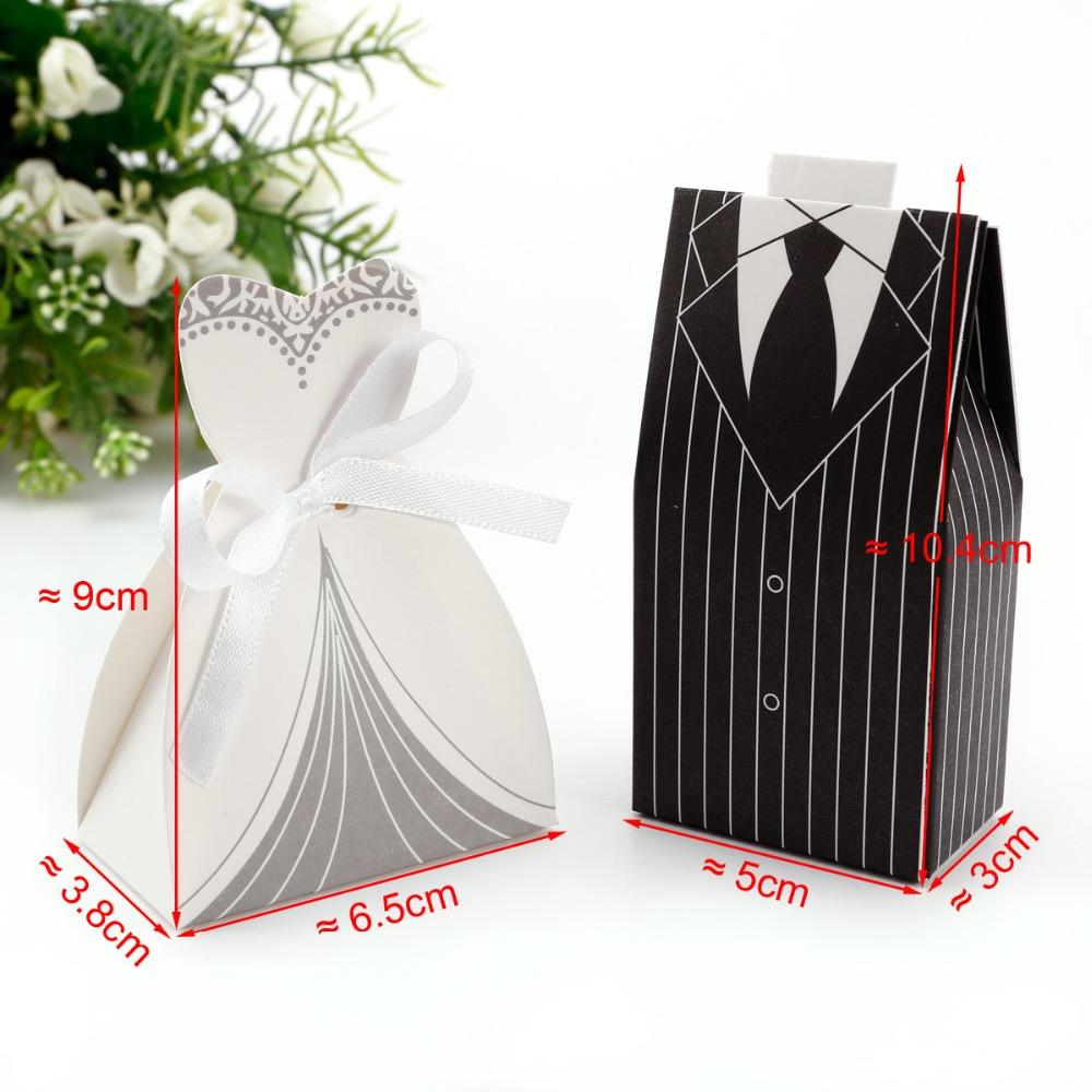 Promotion! White / Black Tuxedo Bride &Amp; Groom Wedding Favors ...