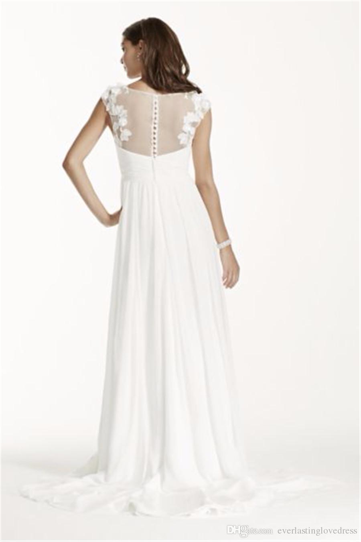 Cap Sleeve Chiffon A-Line with Floral Applique WG3698 Elegant Bridal Dress Simple No Bidding Veil vestido de novia