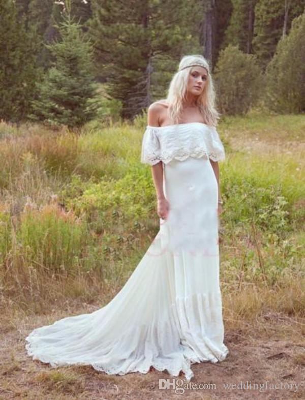 Vestidos de boda de Country Bohemian Sexy Off The Spring Spring Summer Lace Appliques Chiffon Boho Boho Vestidos de novia Vestidos De Novia Hippie