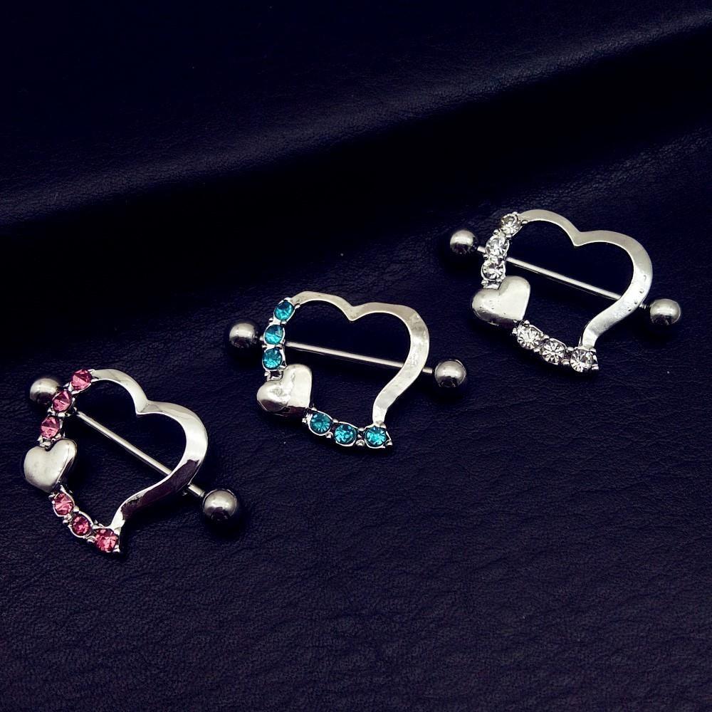 Hot Sale Stainless Steel sexy Nipple Rings Jewelry Trendy heart Nipple Barbell Piercing Ring Body Piercing Jewelry