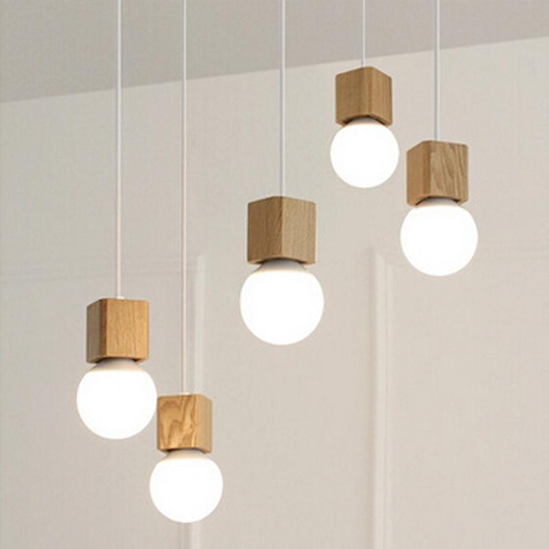 Grosshandel Vintage Pendelleuchte Holz Retro Lampe 100cm Farbe Draht