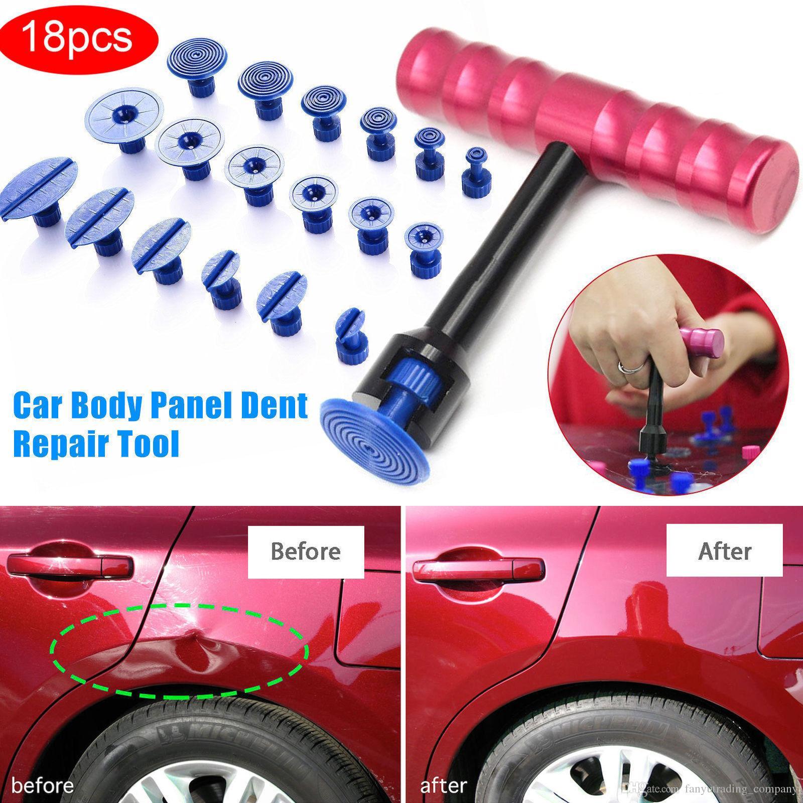Profesional 18 Unids T-Bar Car Body Panel Paintless Abolladura Remoción Herramienta de Reparación Levantador + Extractor Tabs Coche Moto Daño Remoción Envío Gratis