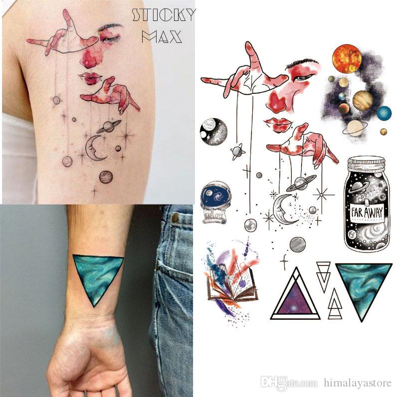 d3d5314c2 W15 Outer Space Universe Temporary Tattoo With Space Geometric, Planet,  Astronaut Pattern Body Paint Tattoos Temporary Makeup Tattoos Temporary  Permanent ...