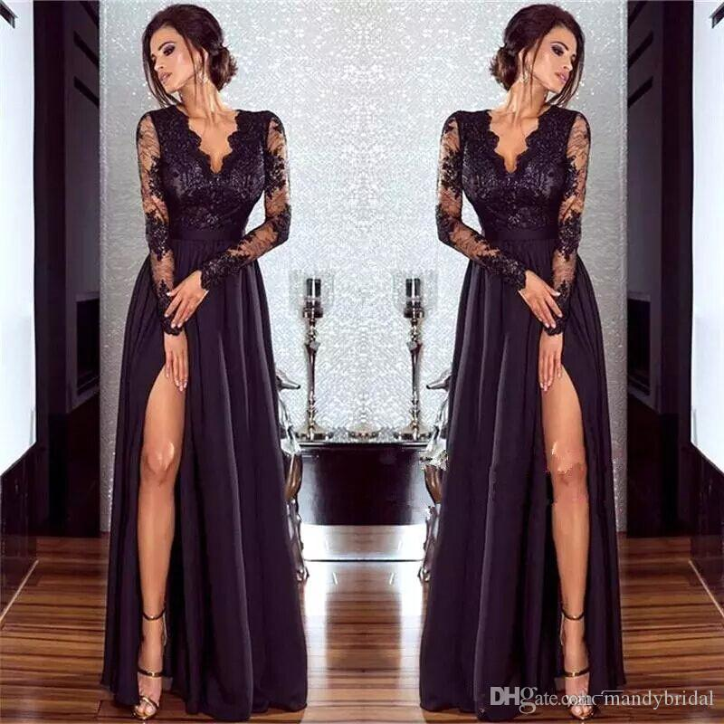 c1046c2943f58 2018 Hot Sexy Black Lace Evening Dresses With Long Sleeves V Neck Women Formal  Gowns Split A Line Party Prom Dresses Floor Length Black Evening Dresses  With ...