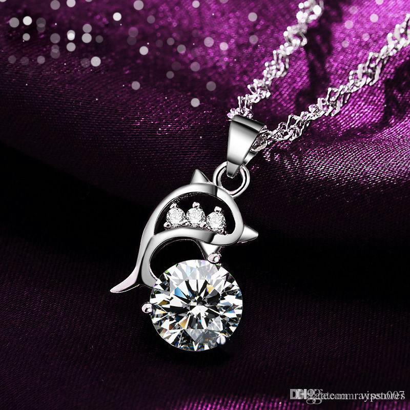 Multi Crystal Dolphins Necklace Pendant Silver Plated CZ Diamond Dolphin  Pendant Chokers Romantic Love Necklace Jewelry for Women Crystal Dolphins  Necklace ... 207695a39aa2