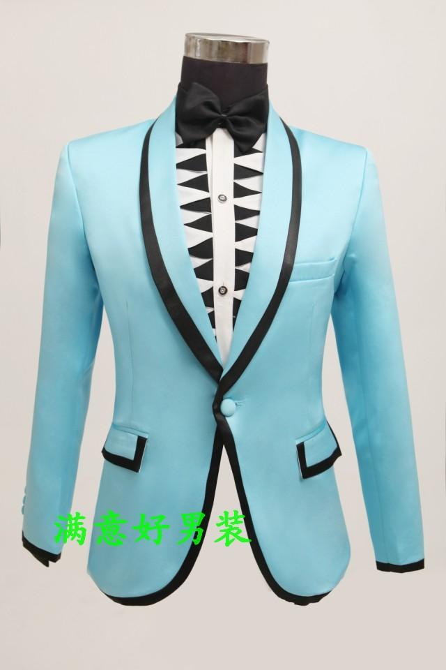 Best Wholesale Male Suits Prom Groom Wedding Banquet Blue Stamp Slim ...