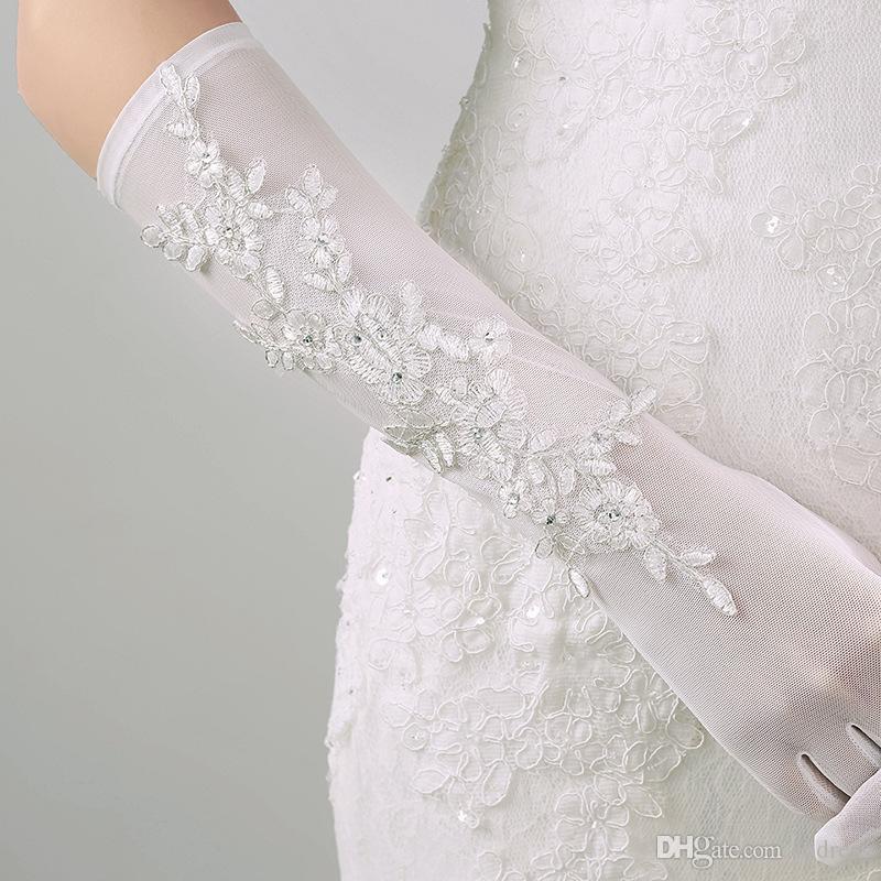 2017 아이보리 신부 장갑 긴 결혼식 액세서리 꽃 얇은 명주 그물과 부드러운 얇은 명주 그물 멋진 결혼식 액세서리 저렴한