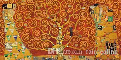 2018 Framed Gustav Klimt The Tree Of Life Red Keilrahmen,Hand ...