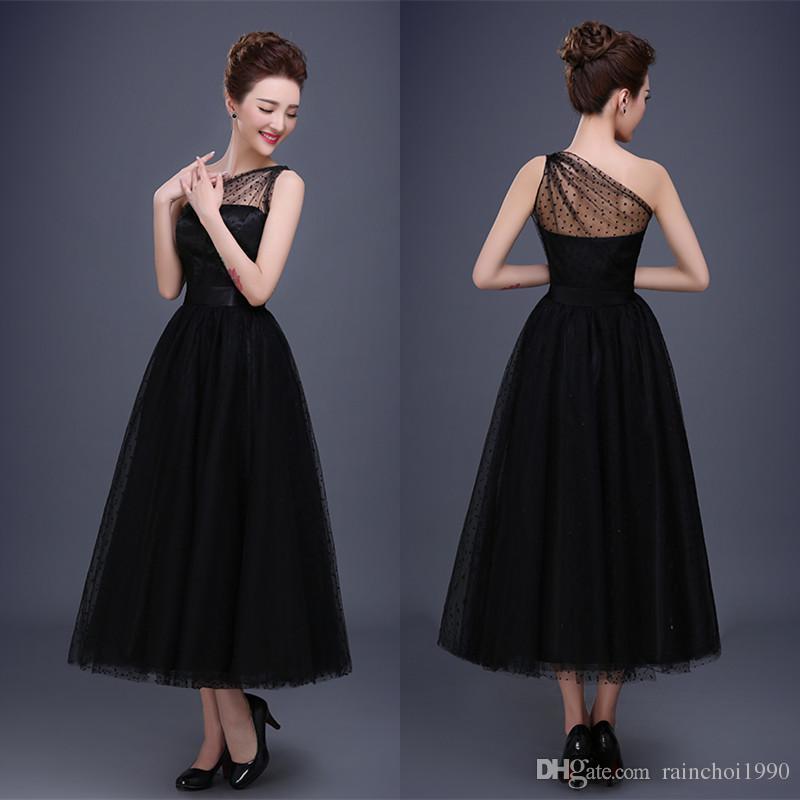 2017 Vintage Black Bridal Evening Dresses One Shoulder Sequined Tea ...