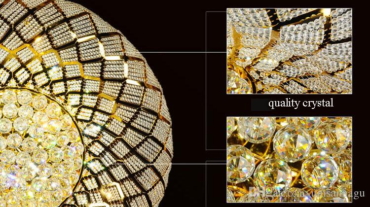 Modern Crystal Ceiling Lamps LED Lamp American Gold Crystal Ceiling Lights Fixture Round Bird Nest Home Indoor Lighting 3 White Color Change