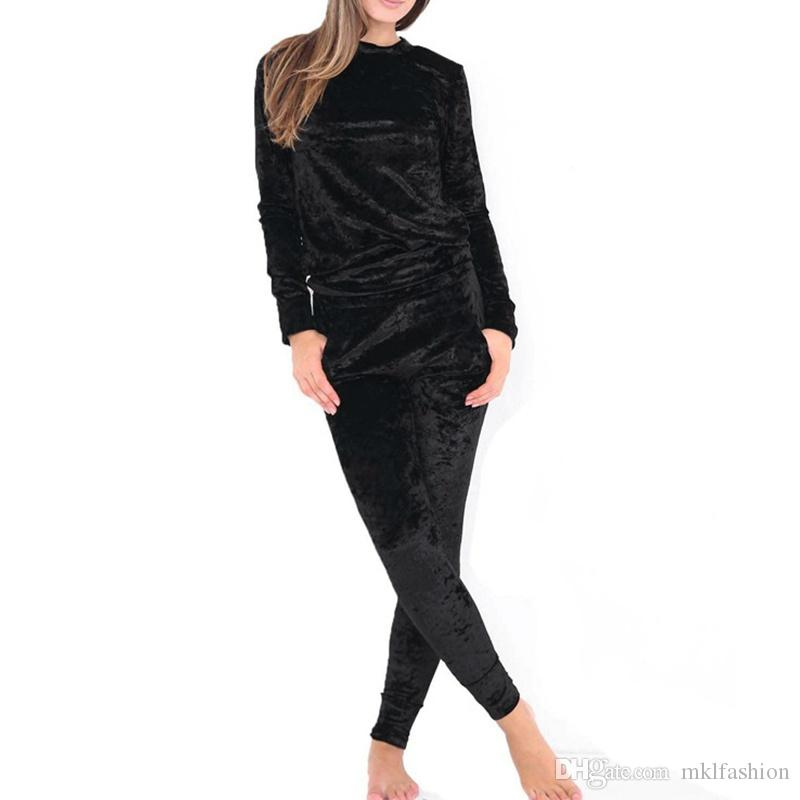 2017 New Fashion Women Crushed Velvet Tracksuit Casual Hoodies Sweatshirt Pants Sets Sport Suits Casual women's cotton suits