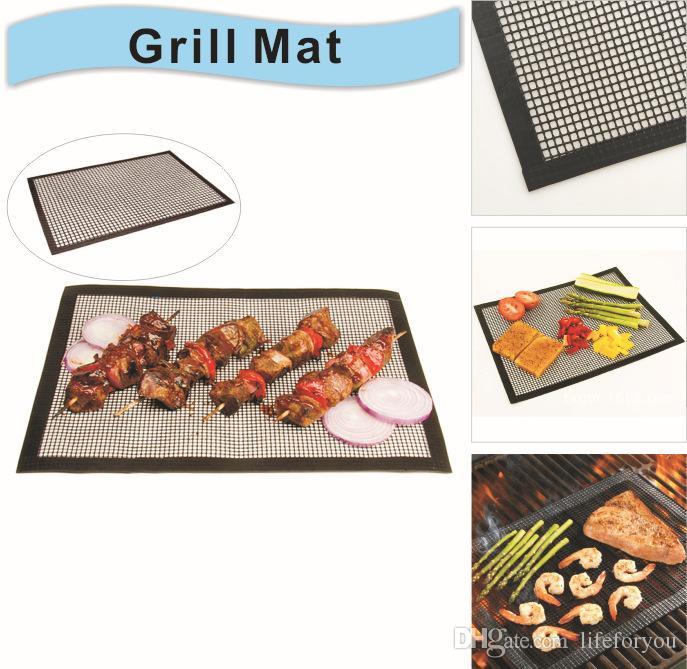 Griglie in silicone grigliate Accessori utensili da barbecue Cottura Bake Mat Liner riutilizzabile PTFE Antiaderente BBQ Grill Mats 16