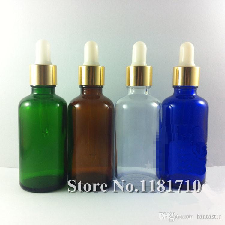 Beyaz Lateks Kafa ile Parlak Altın Alüminyum Damlalık Kapak Cap 5ml \ 10ml \ 15ml \ 20ml \ 30ml \ 50ml \ 100ml Essential Oil Bottle