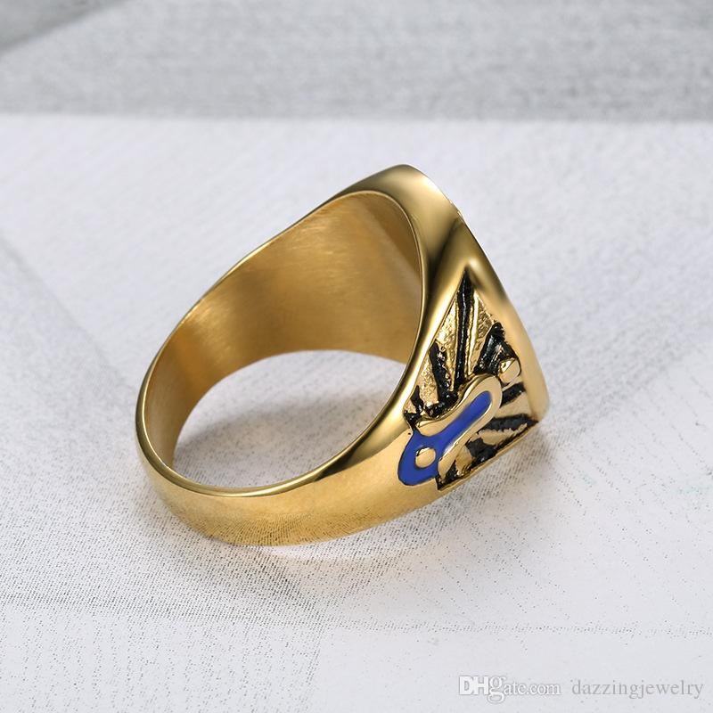 Darmowa Wysyłka Hurtownie Złoto Srebrny Blue Emalia Retro Czarny Efekt Ze Stali Nierdzewnej Mason Freemason Signet Masonic Pierścionek dla mężczyzn