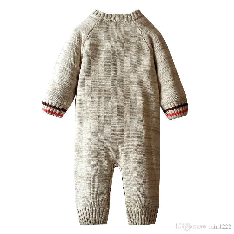 Christmas Knit Sweaters Jumpsuits Baby Knitted Deer Pattern Warm Add Velvet Sweaters Onesies Rompers Infants Toddlers Cotton Jumpsuits