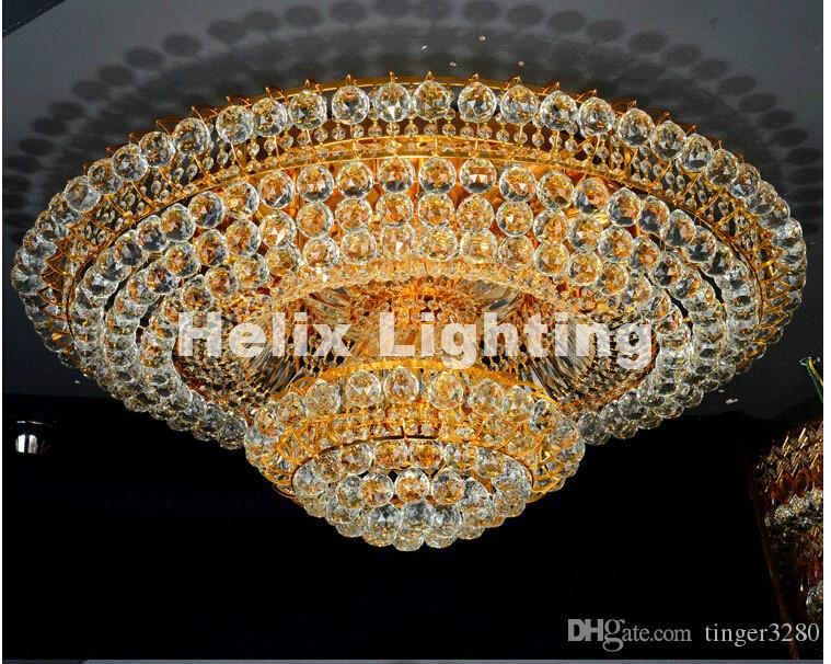 Ücretsiz nakliye Modern Kristal Geleneksel Altın Salon Lambası Modern Yatak Odası Lamba LED AC Tavan Lambası D80cm