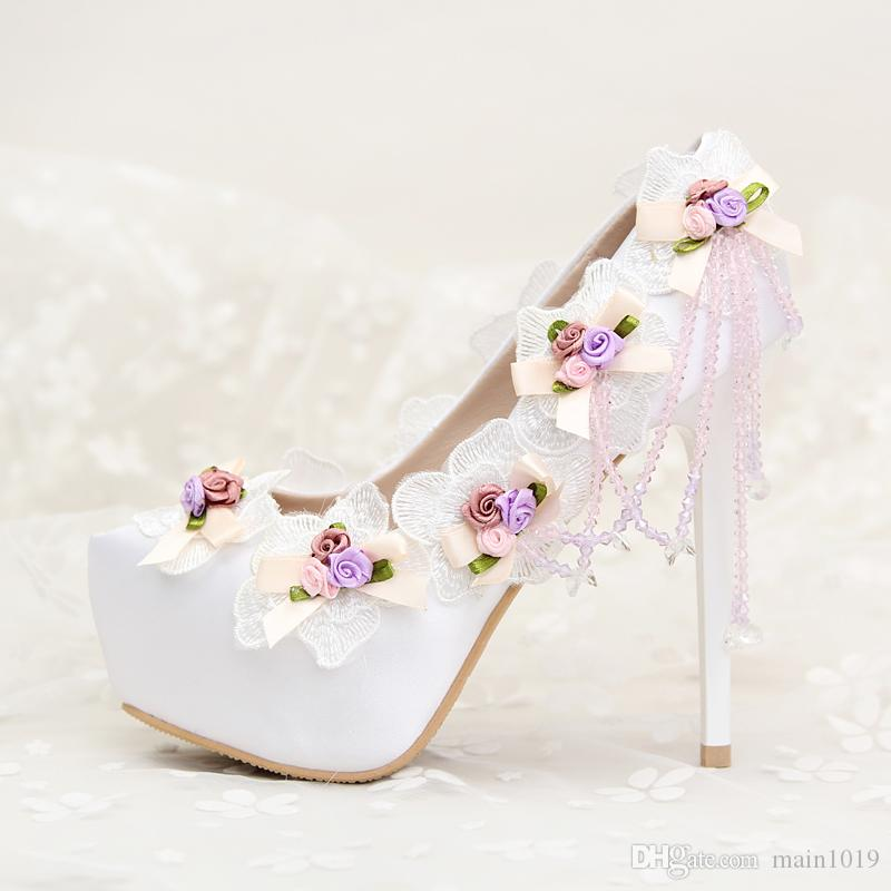 2016 Beautiful Lace Flowers Wedding Shoes Rhinestone Pendant Bridal 14cm High Heel Lady Party Prom Online Shop