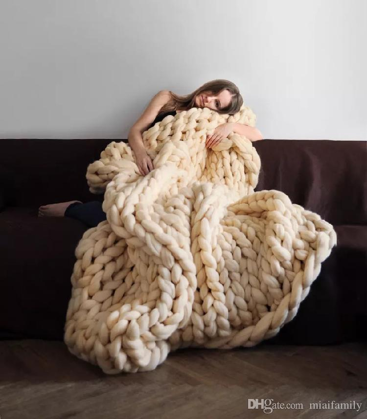 60 * 60 cm 100 * 80 cm Sıcak Tıknaz Örgü Battaniye Kalın Dokuma İplik Yün Bulky Örme Atmak Kineli Atmak Fotoğraf Battaniye hızlı kargo