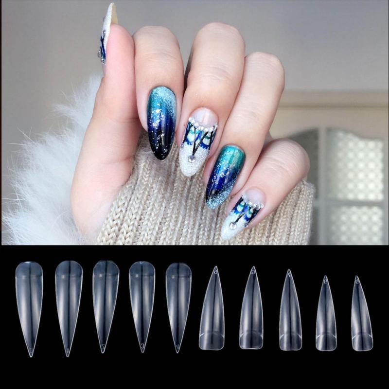 Nail Art Clearnaturalwhite Full Cover Long Sharp Stiletto False