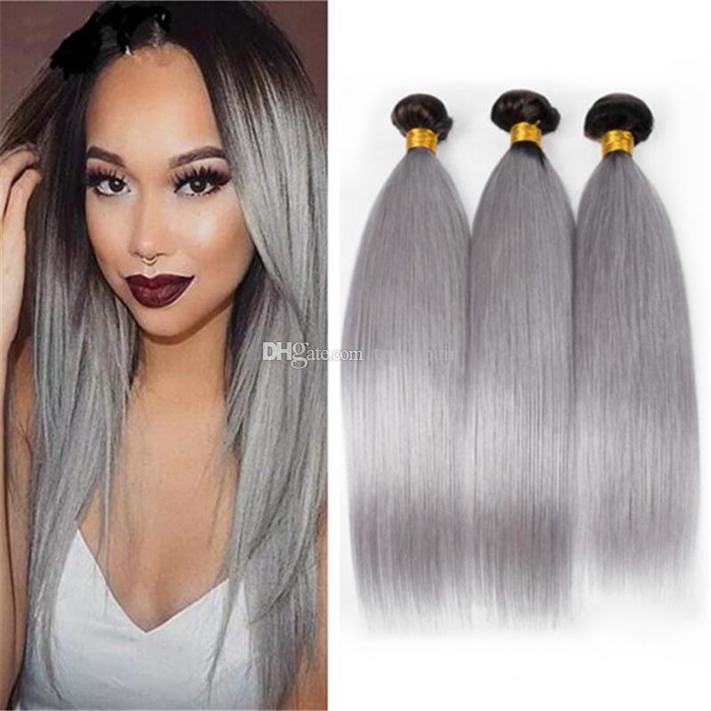 Dark Roots Silver Grey Ombre Hair 3 Bundles 1bgrey Indian Straight