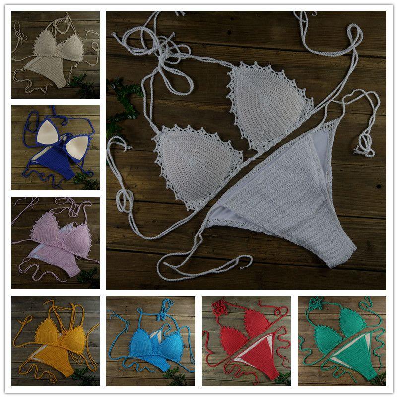 100% Handmade Crocheted Women's Clothing Costumi da bagno Bikini Set Sexy boho chic Foderato imbottito crop top Bikini Set bianco