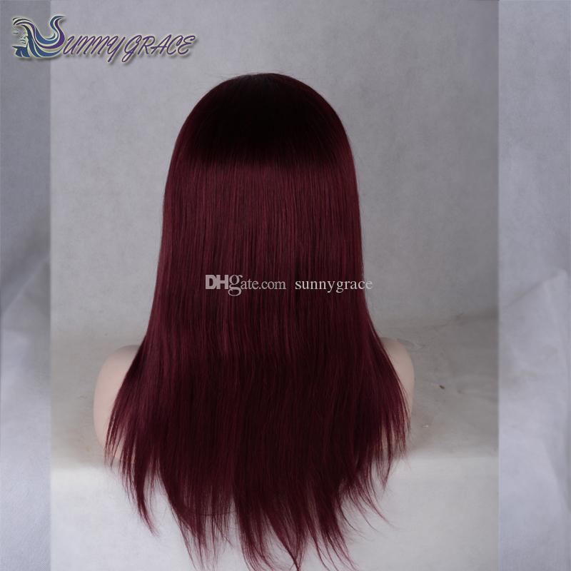 Hot selling lace front wig 99j natural straight dark root Wine Red glueless full lace human hair wigs For Black Women