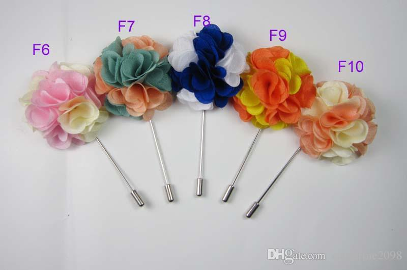Newest 5cm Men double color fabric flower stick pin lapel pin brooch pins for your choice