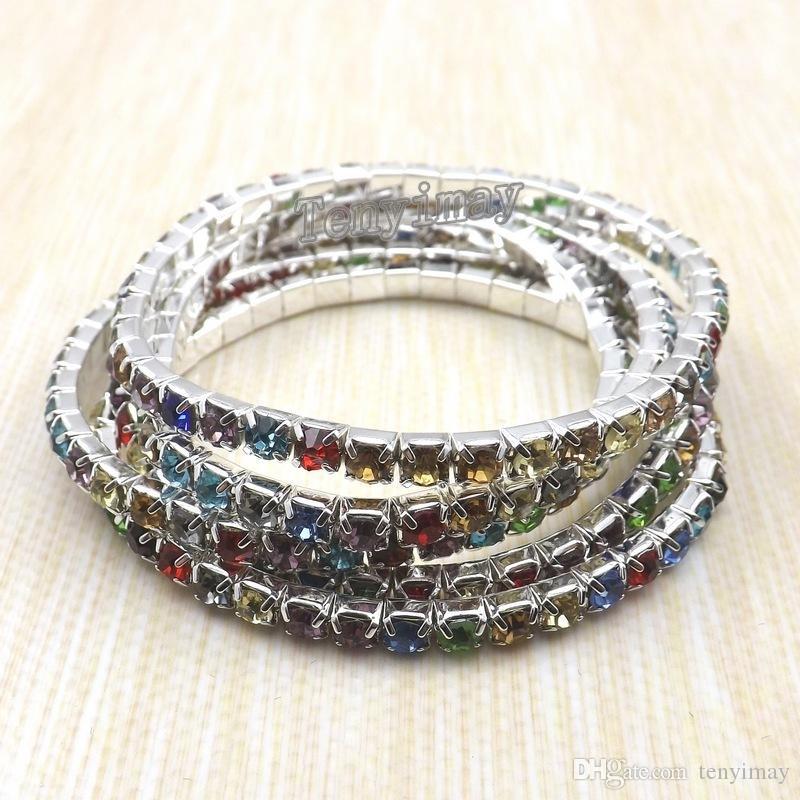 Envío Gratis Un Nivel Multicolor Crystal Stretchy Bangle Rhinestone Pulseras Al Por Mayor 100 unids