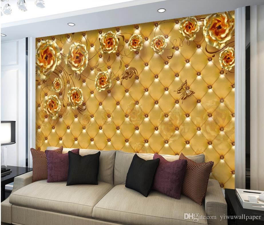 Goldene Rose Soft Tasche Wohnzimmer Schlafzimmer TV Hintergrund Wandbilder Wandbild 3D Wallpaper 3d Tapeten für TV Hintergrund