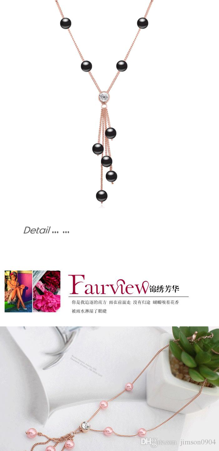 2017 Autumn and winter new Imported crystal Sweater chain fashion Pearl Tassels Necklace Hazy shadow Woman SAUTOIR jewelry Pendant hot sale