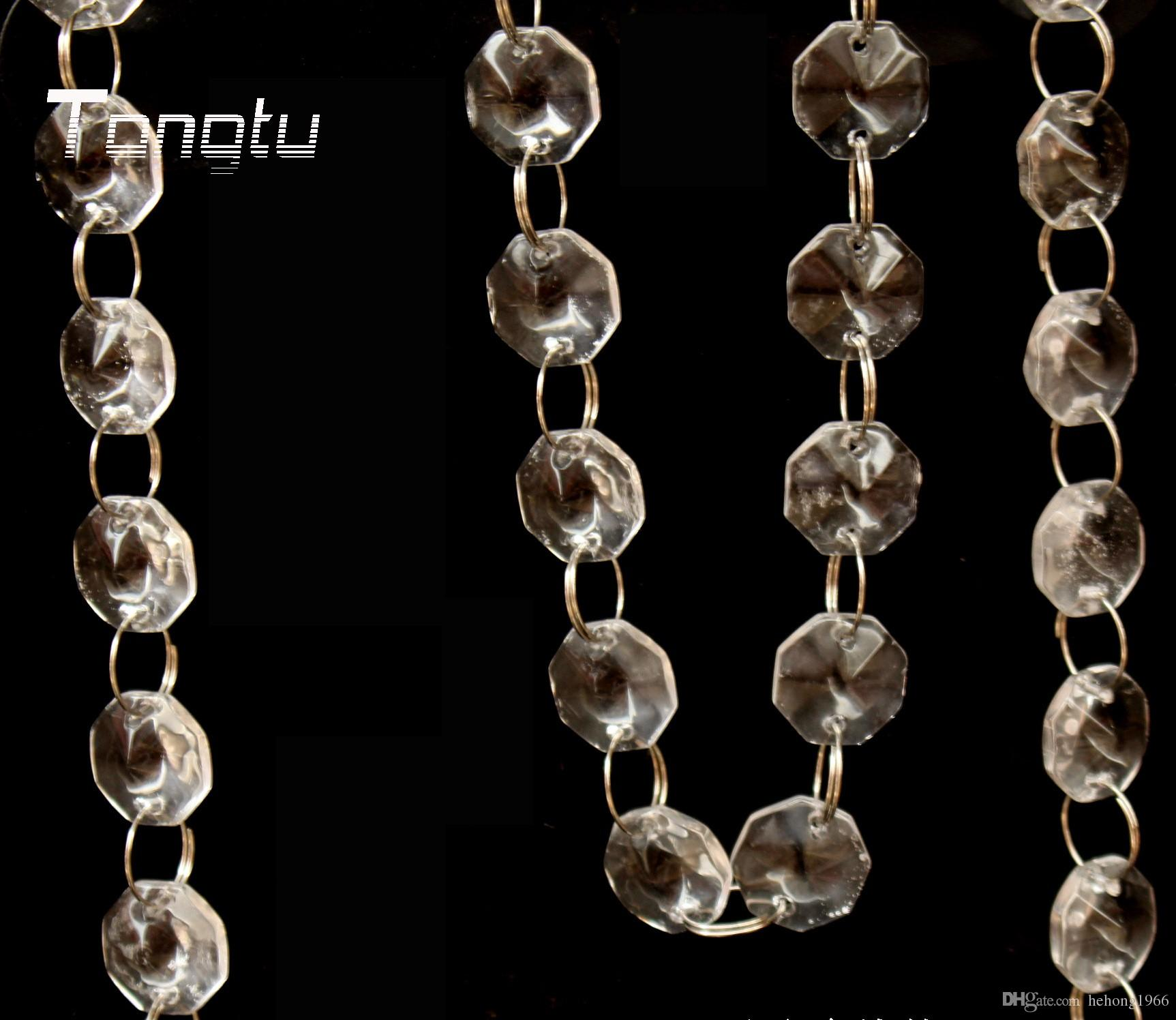 Bead Chain Crystal Hung Strands Strung Wedding Prop Room Window Decorate Transparent Glass Bradde Chains Eight Square Beads 2 2wn C