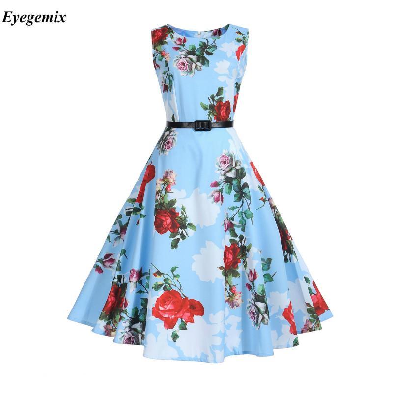 af2df547f12 Women Summer Dress 2017 Vintage Floral Print 50s 60s Style Retro Dress  Women O-neck Sleeveless Party Clubwear Formal Dress